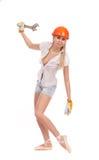 Bailarina en casco anaranjado Imagenes de archivo