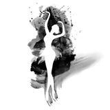 Bailarina en danza watercolor stock de ilustración