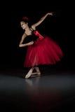 Bailarina en tutú rojo Imágenes de archivo libres de regalías