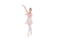 Bailarina magnífica sonriente con sus brazos para arriba Imagen de archivo