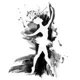 Bailarina na dança watercolor Fotografia de Stock