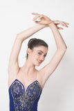 Bailarina no azul imagem de stock royalty free