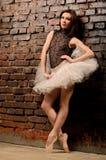 Bailarina no tutu perto da parede de tijolo Imagens de Stock