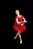 Bailarina no tutu vermelho no preto isolado Imagens de Stock Royalty Free