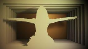 Bailarina que actua contra o fundo do túnel de papel vídeos de arquivo