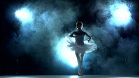 Bailarina que hace un entrenamiento en la sala de clase almacen de video