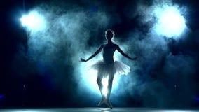 Bailarina que hace un entrenamiento en la sala de clase, lenta metrajes