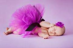 Bailarina recién nacida que duerme en un fondo rosado Foto de archivo libre de regalías