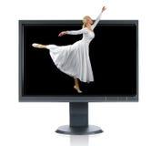 Bailarina y monitor Imagen de archivo