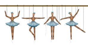 Bailarinas concepto, sistema de bailarines de madera de la marioneta en diversas actitudes, ilustración del vector