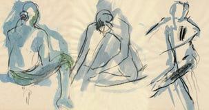 Bailarinas, drenando 4 stock de ilustración