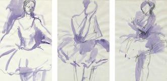 Bailarines 3 de las mujeres, drenando Fotos de archivo libres de regalías