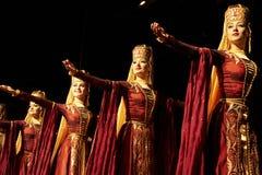 Bailarines académicos del conjunto de la danza de Kabardinka Foto de archivo libre de regalías
