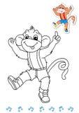 Bailarines animales 12 del libro de colorante - mono Fotos de archivo