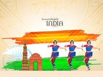 Bailarines clásicos para la celebración india del día de la república ilustración del vector
