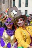 Bailarines colombianos en un desfile de Bogotá Foto de archivo libre de regalías