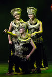 Bailarines de Chinse. Compañía del arte de Zhuhai Han Sheng. Festival de primavera 2013 Imagen de archivo