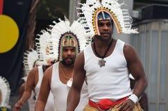 Bailarines de las islas del estrecho de Torres Imágenes de archivo libres de regalías