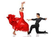 Bailarines del Latino de la elegancia en la acción Fotos de archivo libres de regalías