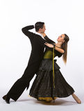 Bailarines del salón de baile con el vestido del negro y del amarillo Fotos de archivo libres de regalías