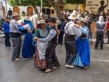 Bailarines en el festival de las islas Canarias Foto de archivo