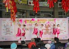 Bailarines en la celebración china del Año Nuevo en Vancouver Fotos de archivo libres de regalías