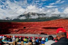 Bailarines en la impresión Lijiang Fotos de archivo libres de regalías