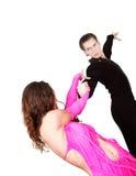 Bailarines latinos sobre blanco Imagenes de archivo
