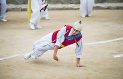 Bailarines populares y músicos coreanos Fotografía de archivo libre de regalías