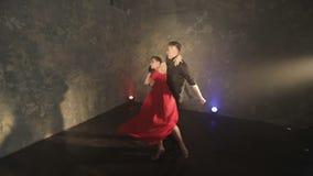 Bailarines profesionales que bailan tango en salón de baile almacen de metraje de vídeo