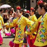 Bailarines tradicionales coreanos foto de archivo