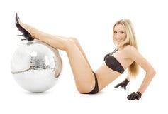 Bailarín del partido con la bola del disco Imagen de archivo libre de regalías