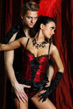 Bailarín Moulin Rouge de los pares Imagen de archivo libre de regalías