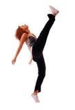 Baile adolescente atractivo sobre el fondo blanco Imagen de archivo