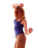 Baile adolescente atractivo sobre el fondo blanco Foto de archivo libre de regalías