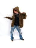 Baile adolescente del muchacho con el MP3 Imagen de archivo libre de regalías