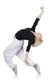Baile adolescente hip-hop de la muchacha sobre el fondo blanco Imagen de archivo