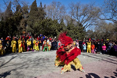 Baile chino del león durante Año Nuevo chino Imagen de archivo libre de regalías