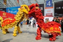 Baile chino del león Foto de archivo