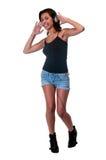 Baile con los auriculares Imagen de archivo libre de regalías