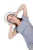Baile con los auriculares fotografía de archivo libre de regalías