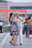 Baile cuadrado colectivo en Pekín, China Imagen de archivo