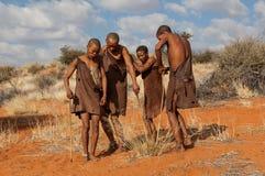 Baile de cuatro bosquimanos Fotografía de archivo libre de regalías