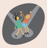 Baile de dos muchachas stock de ilustración