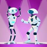 Baile de dos robots en el vector del disco Ilustración aislada