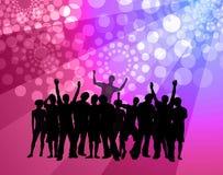 Baile de la gente - atmósfera del disco - color de rosa y violeta ilustración del vector