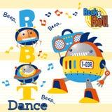 Baile de la historieta de los robots en fondo rayado libre illustration
