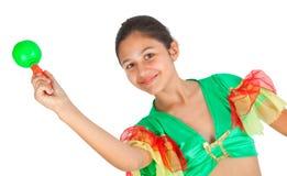 Baile de la muchacha con ropa latinoamericana Fotos de archivo libres de regalías