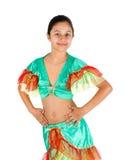 Baile de la muchacha con ropa latinoamericana Foto de archivo