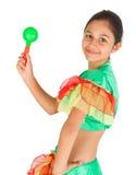 Baile de la muchacha con ropa latinoamericana Imagenes de archivo